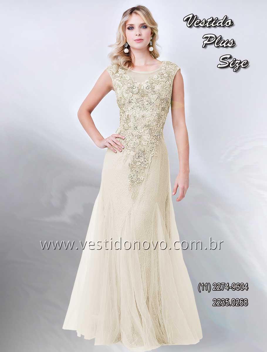 1d7419d3f vestido mãe do noivo plus size de renda na cor nude bordado em ouro velho,